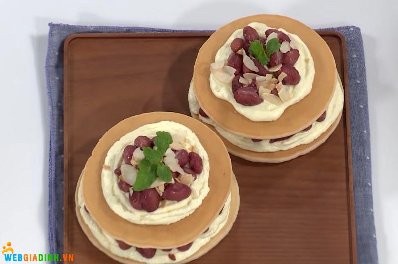 cách làm pancake hạnh nhân đậu đỏ