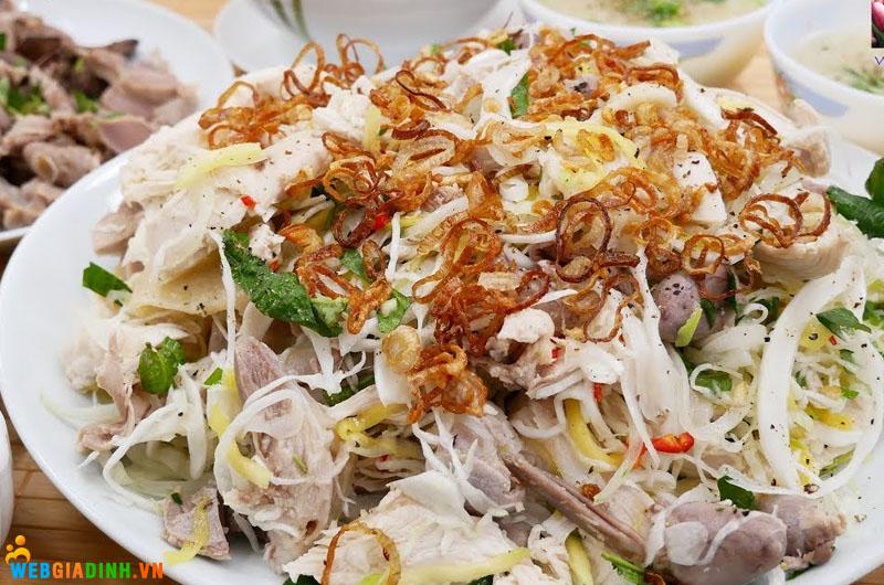 chế biến thịt gà trộn bắp cải