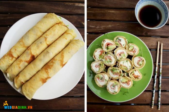 làm bánh pancake sushi
