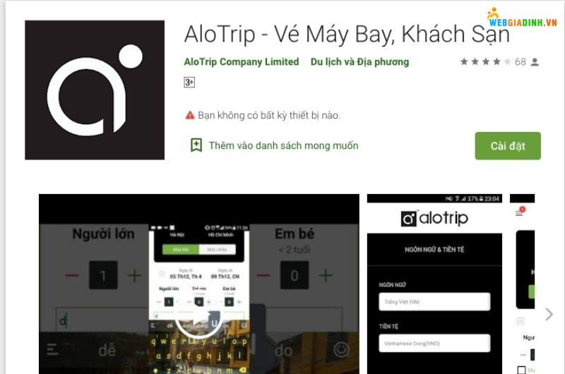 ứng dụng Alo trip